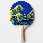 青いポップアートのスタイルのHokusaiの素晴らしい波 卓球ラケット
