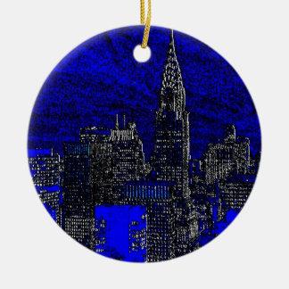 青いポップアートニューヨークシティ セラミックオーナメント