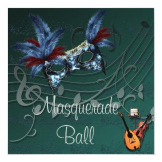 青いマスクの仮面舞踏会の招待状 カード
