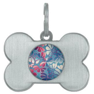青いマゼンタのお洒落なイカットの花の落書きパターン ペットネームタグ