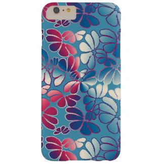 青いマゼンタのお洒落なイカットの花の落書きパターン BARELY THERE iPhone 6 PLUS ケース