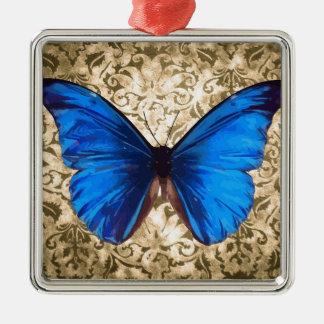 青いマダラチョウのダマスク織のヴィンテージの芸術 メタルオーナメント