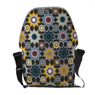 青いマラケシュの星の芸術パターンベクトル芸術のバッグ クーリエバッグ