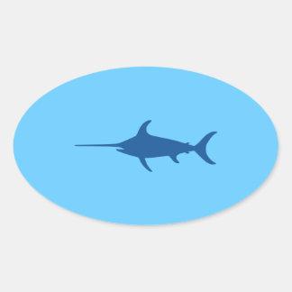 青いメカジキ 楕円形シール