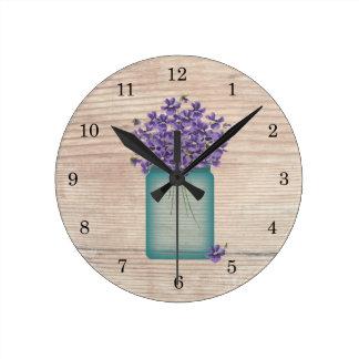 青いメーソンジャーのバイオレットの柱時計 ラウンド壁時計