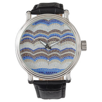青いモザイクメンズウォッチ 腕時計