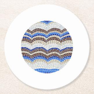 青いモザイク円形のペーパーコースター ラウンドペーパーコースター