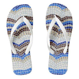 青いモザイク大人の広い革紐のビーチサンダル ビーチサンダル