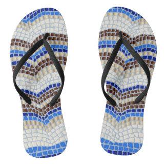 青いモザイク大人の細い革紐のビーチサンダル ビーチサンダル