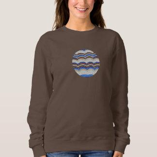 青いモザイク女性の基本的なスエットシャツ スウェットシャツ