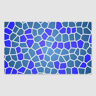 青いモザイク 長方形シール