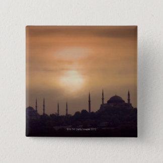 青いモスクおよびHagia Sophiaトルコ、イスタンブール 5.1cm 正方形バッジ