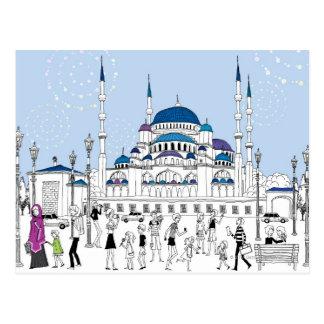 青いモスク ポストカード