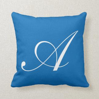 青いモノグラムの枕に文字を入れて下さい クッション
