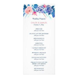 青いモモのバラの花束の結婚式プログラム ラックカード