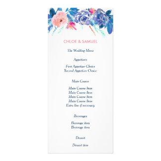 青いモモのバラの花束の結婚式メニュー ラックカード