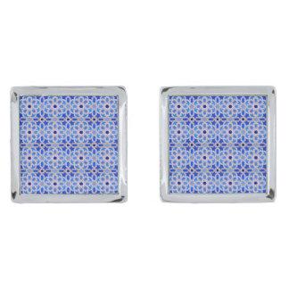 青いモロッコの幾何学的なパターン 銀色 カフリンク