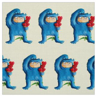 青いモンスターのアイスクリーム ファブリック
