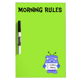 青いモンスター、朝のコーヒー印 ホワイトボード
