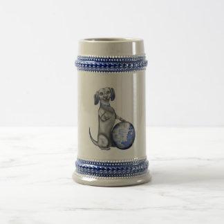 青いヤナギのダックスフントステイン ビールジョッキ