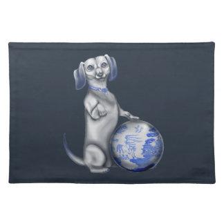 青いヤナギのダックスフント ランチョンマット