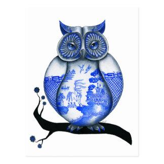 青いヤナギのフクロウ ポストカード