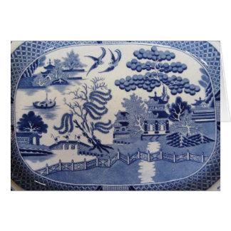 青いヤナギの挨拶状は過去を思い出させます カード