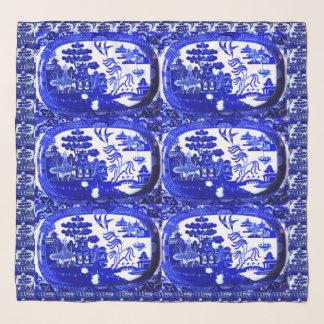 青いヤナギパターンメガ軽くて柔らかい正方形のスカーフ スカーフ