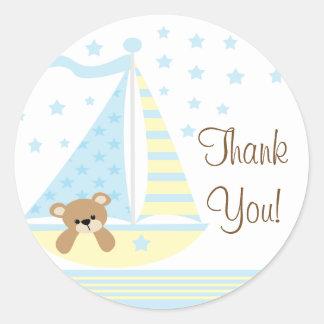 青いヨットのベビーシャワーはステッカー感謝していしています ラウンドシール