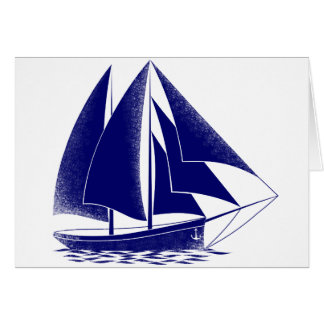 青いヨットの航海のな海の航行 カード