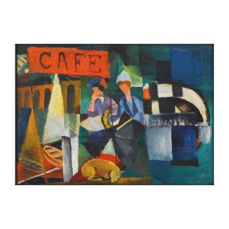 青いライダーのカフェの表現主義者の芸術の再生 キャンバスプリント