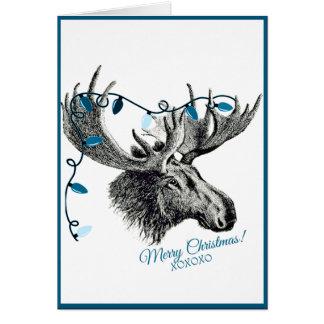 青いライトを持つ間抜けなクリスマスのアメリカヘラジカ カード
