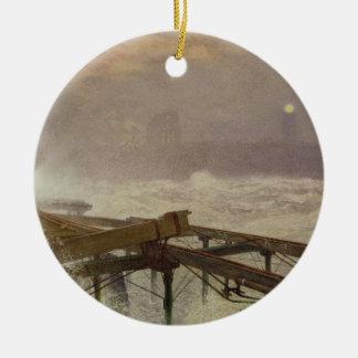 青いライト、- Teignemouth桟橋ランプをつけること セラミックオーナメント
