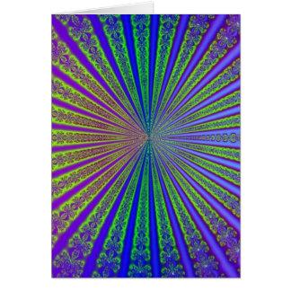 青いライムグリーンの紫色の抽象芸術のフラクタルのトンネル カード