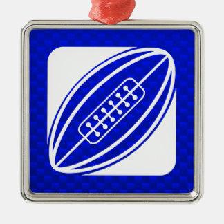 青いラグビー メタルオーナメント