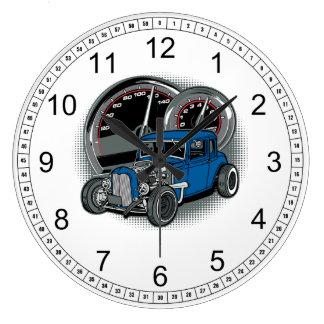 青いラットの棒の通り車 ラージ壁時計