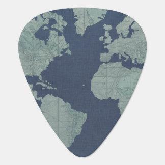 青いリネン世界地図 ギターピック