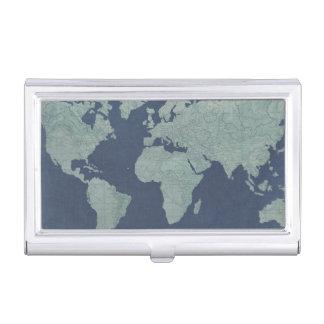 青いリネン世界地図 名刺入れ