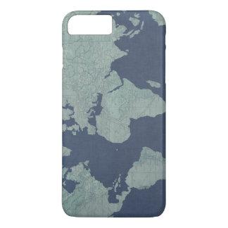 青いリネン世界地図 iPhone 8 PLUS/7 PLUSケース