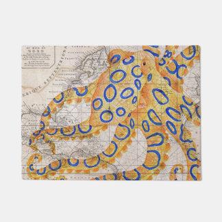 青いリングのタコの地図 ドアマット