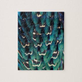 青いリングネックのキジの羽 ジグソーパズル