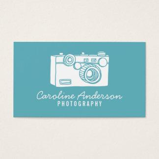 青いレトロのカメラのカメラマンの名刺 名刺