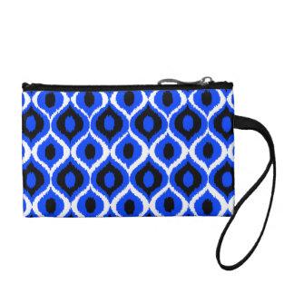 青いレトロの幾何学的なイカットの種族のプリントパターン コインパース