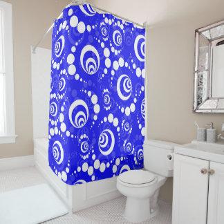 青いレトロの穀物の円 シャワーカーテン