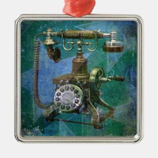青いレトロの電話Art. メタルオーナメント