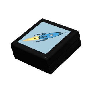 青いレトロのRocketshipのかわいい漫画のデザイン ギフトボックス