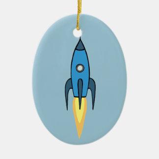 青いレトロのRocketshipのかわいい漫画のデザイン セラミックオーナメント