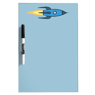 青いレトロのRocketshipのかわいい漫画のデザイン ホワイトボード