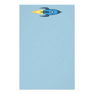青いレトロのRocketshipのかわいい漫画のデザイン 便箋