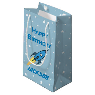 青いレトロのRocketshipの名前入りな男の子の誕生日 スモールペーパーバッグ